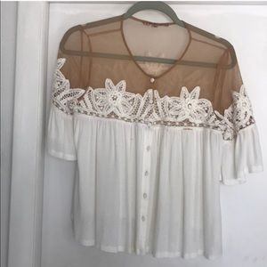 For Love and Lemons Top Illusion Nude White XS GUC